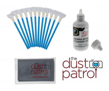 The Dust Patrol Kit mit 12x Alpha Swabs Four Thirds 20mm + Gamma Sensorreiniger + Mikrofasertuch