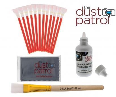 The Dust Patrol Sensor Cleaning Kit w. 12x Alpha Swabs APS-C + Gamma Fluid + Micro Fiber Cloth + D-SLR-BRUSH