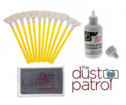 The Dust Patrol Kit mit 12x Alpha Swabs Vollformat 24mm + Gamma Sensorreiniger + Mikrofasertuch