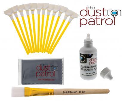 The Dust Patrol Sensor Cleaning Kit w. 12x Alpha Swabs 24mm + Gamma Fluid + Micro Fiber Cloth + D-SLR-BRUSH