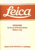 Leica Instructions for c, f, g