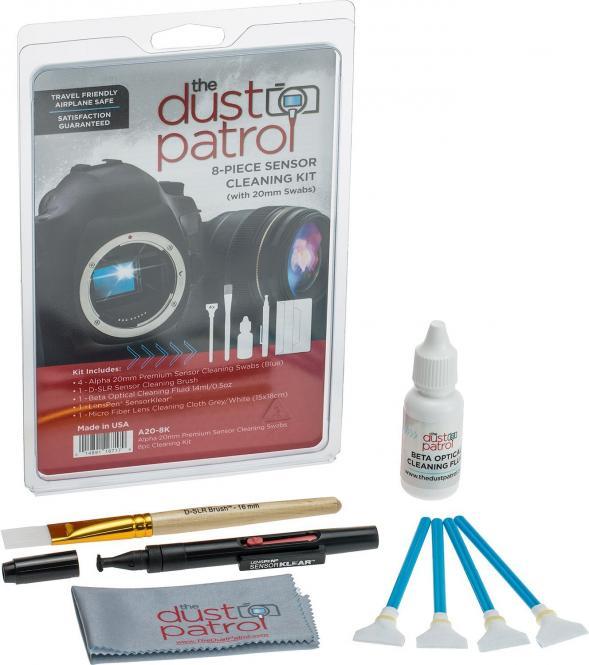 The Dust Patrol Kit mit 4x Alpha Swabs + Beta Fluid + Mikrofasertuch + LensPen SK-1 + D-SLR Sensorpinsel