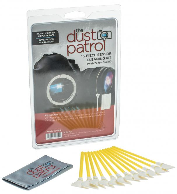 The Dust Patrol Kit mit 12x Alpha Swabs Vollformat 24mm + Mikrofasertuch
