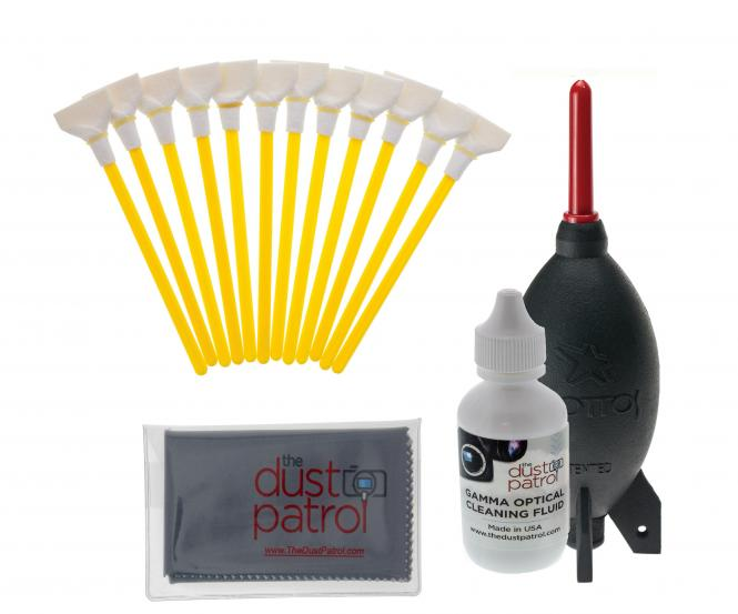 The Dust Patrol Sensor Cleaning Kit w. 12x Alpha Swabs 24mm + Gamma Fluid + Micro Fiber Cloth + Giotto AA1900 Blower